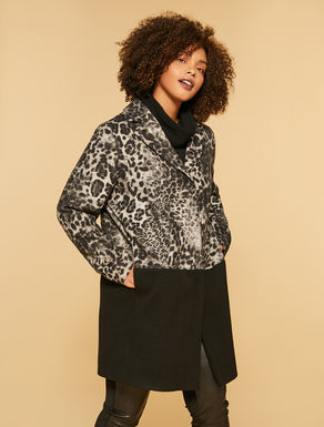 Printed wool cloth coat