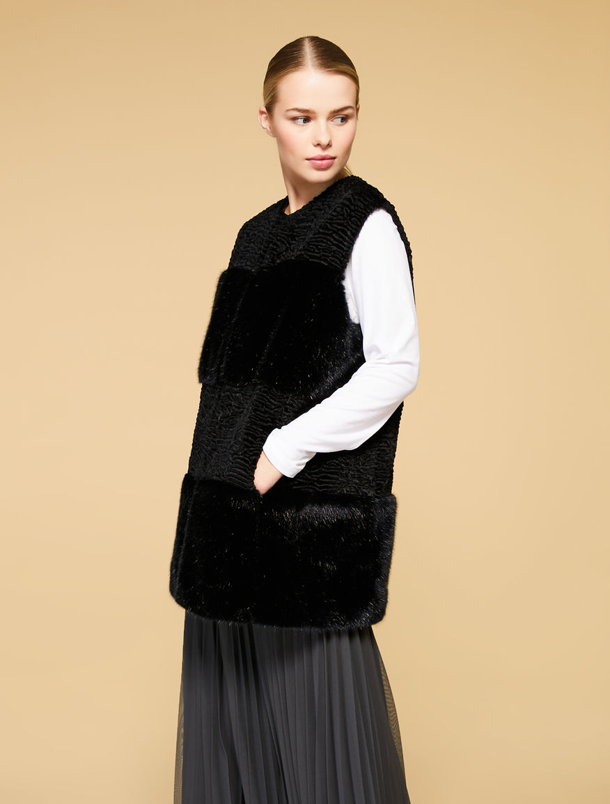 Long faux fur and Karakul-effect gilet