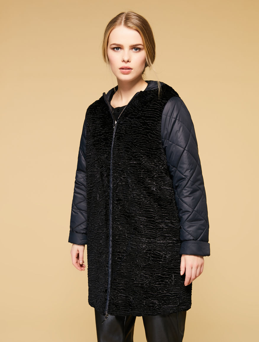 Karakul-effect reversible quilted jacket