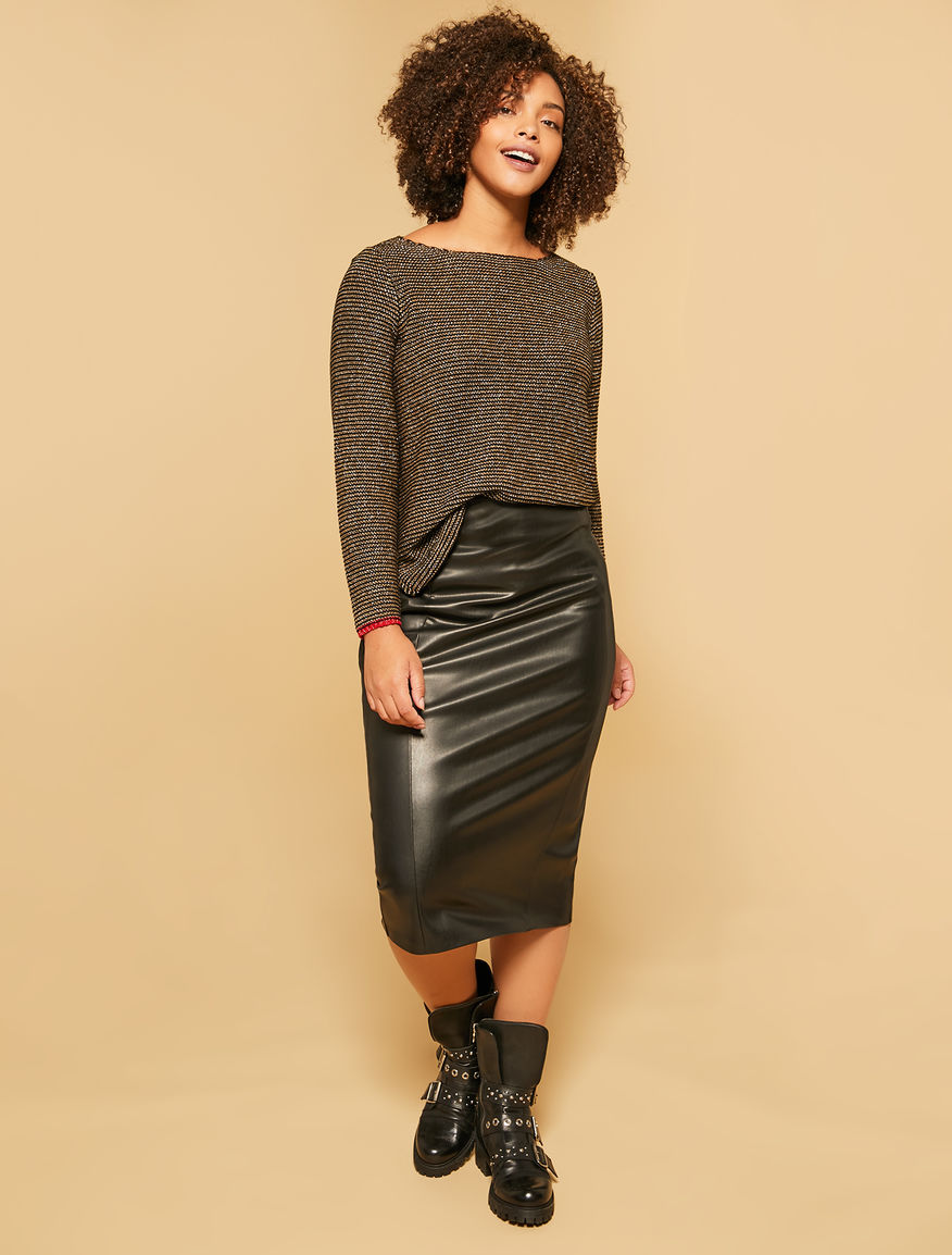 Stretch leather effect pencil skirt