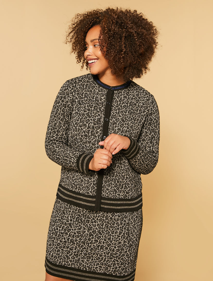 Spotted jacquard cardigan