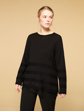 Pullover aus Wollmix und Spitze