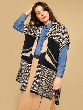 Poncho in misto lana jacquard