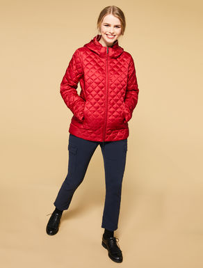 Short mother of pearl nylon quilted jacket