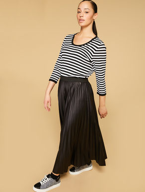 Leather-effect jersey skirt