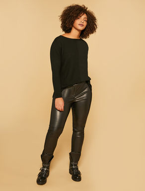 Stretch leather effect trousers
