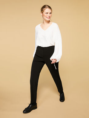 Crepe-effect jersey trousers