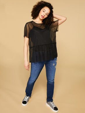 T-shirt in tulle stretch