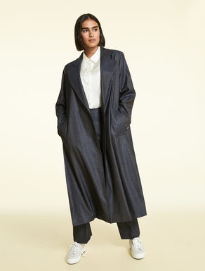 Wool and silk duster coat