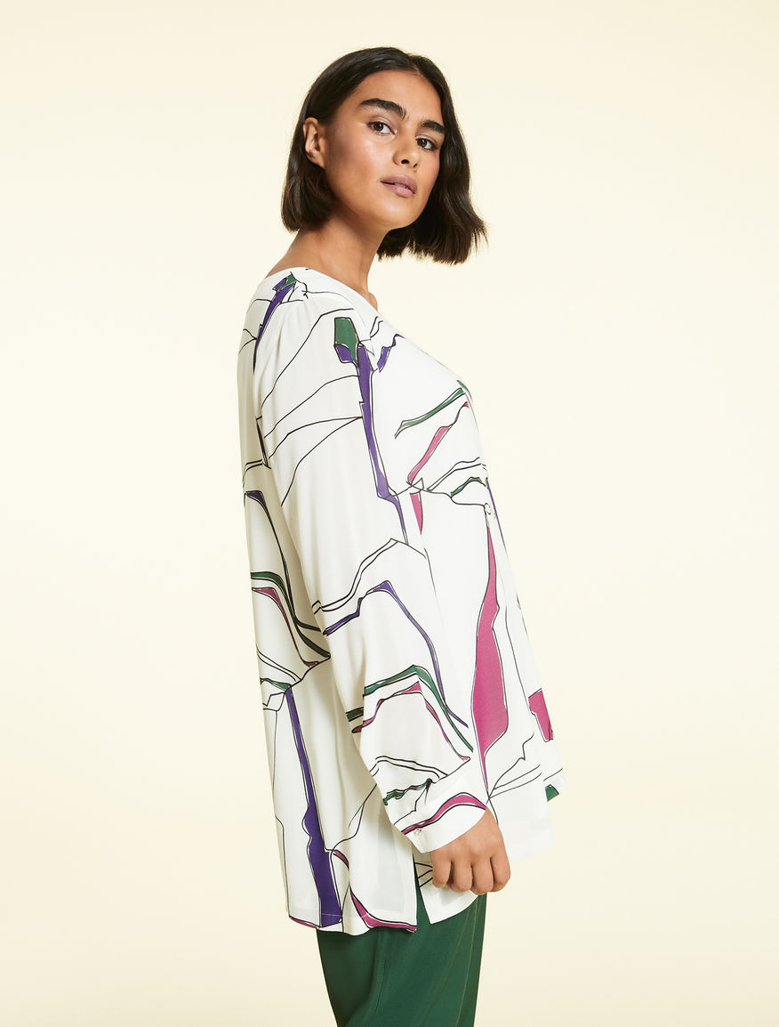 8a4ff3c21ae Printed viscose tunic, white -