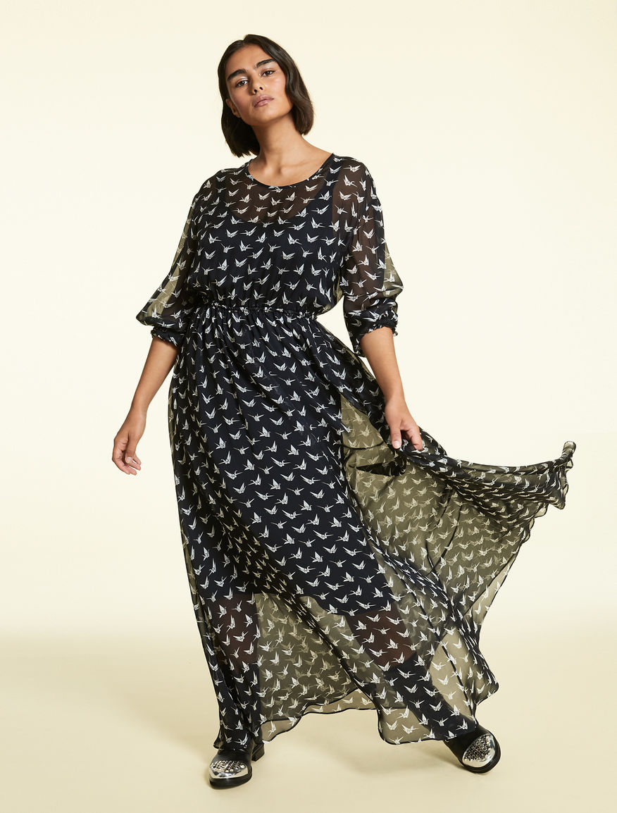 Long dress in silk chiffon