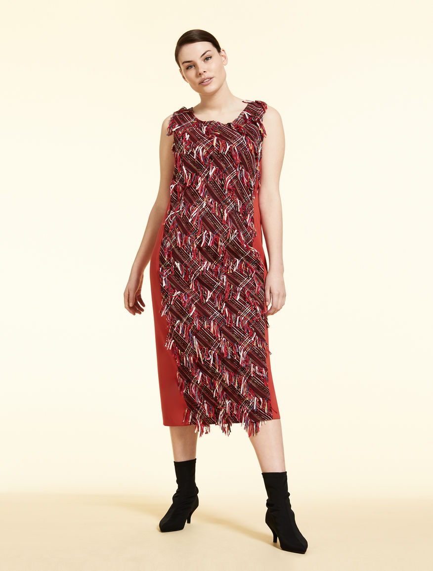 Basketweave and triacetate dress