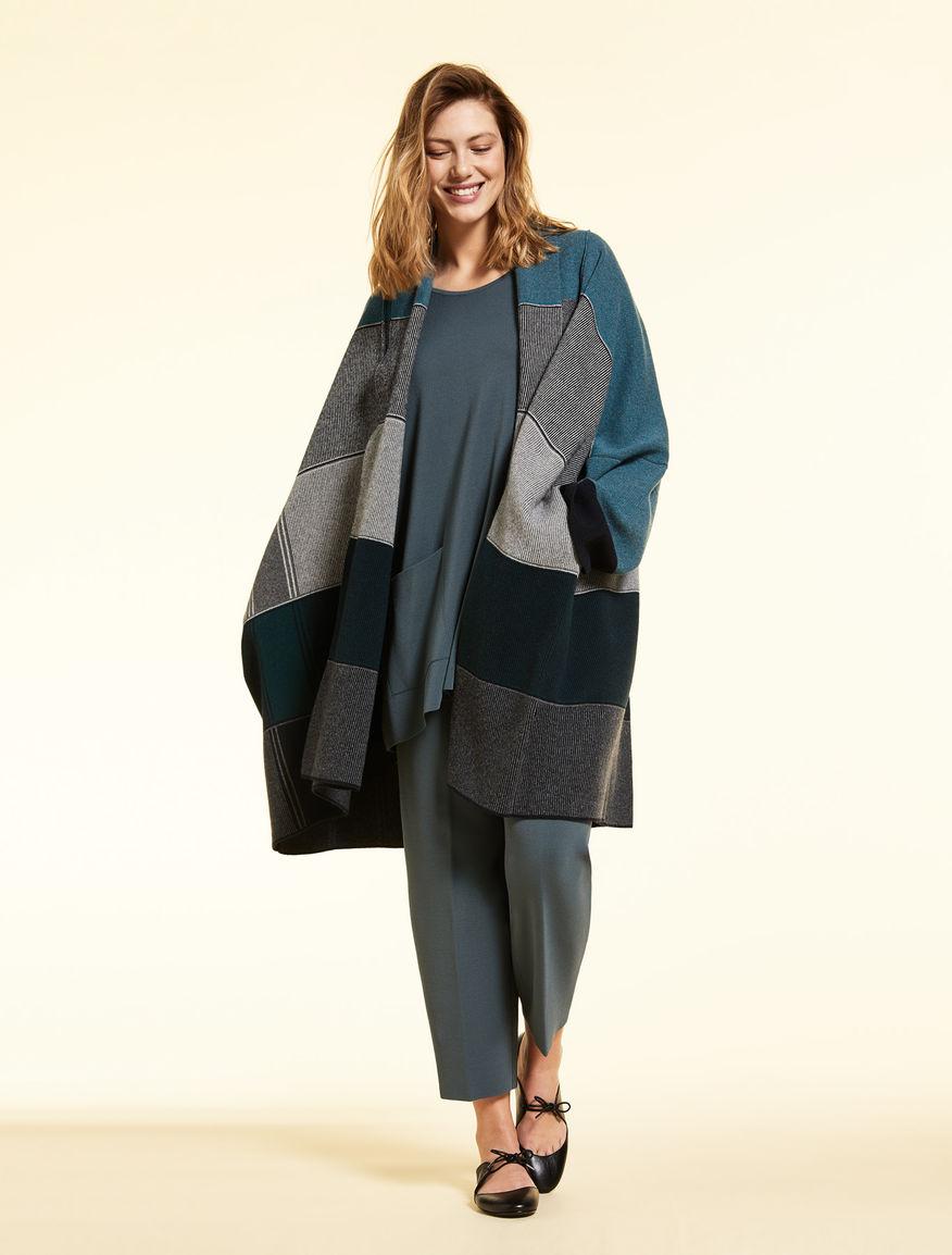 Cappotto in lana jacquard
