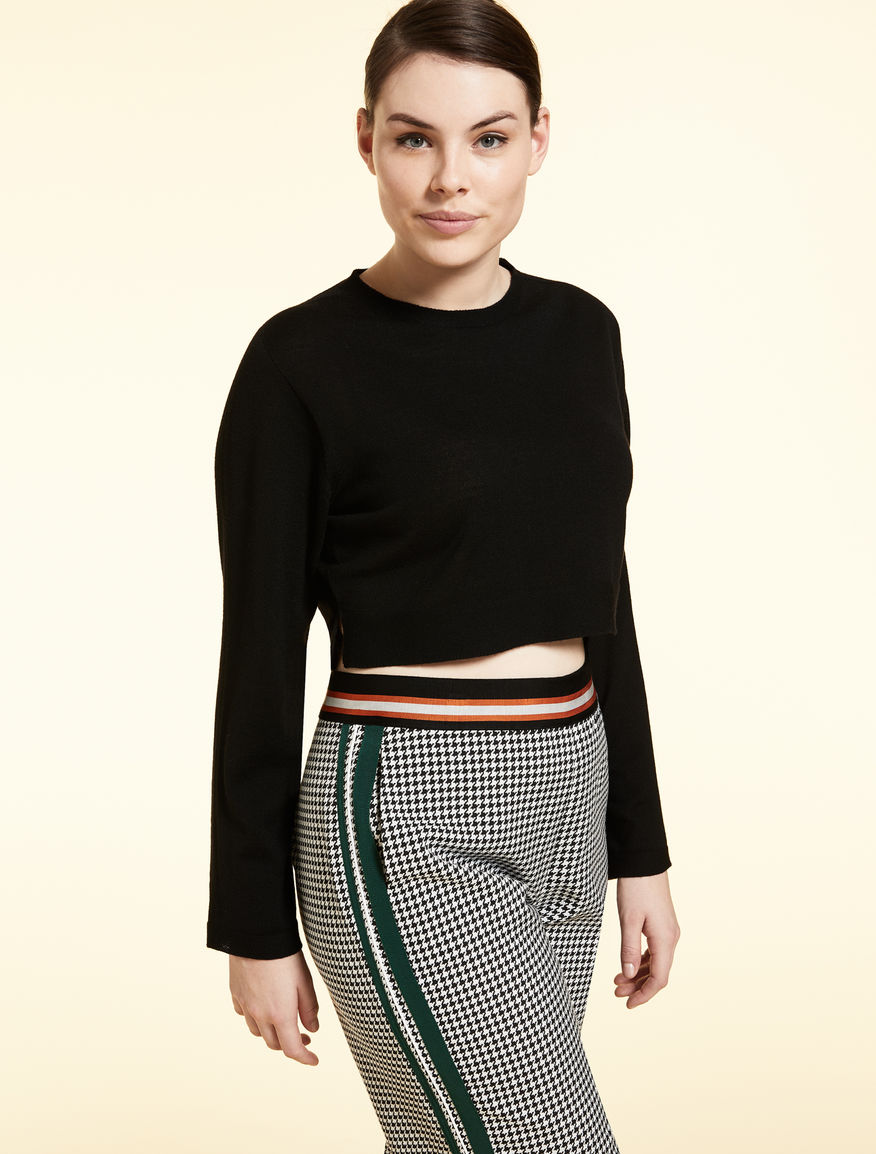 Cropped wool jumper
