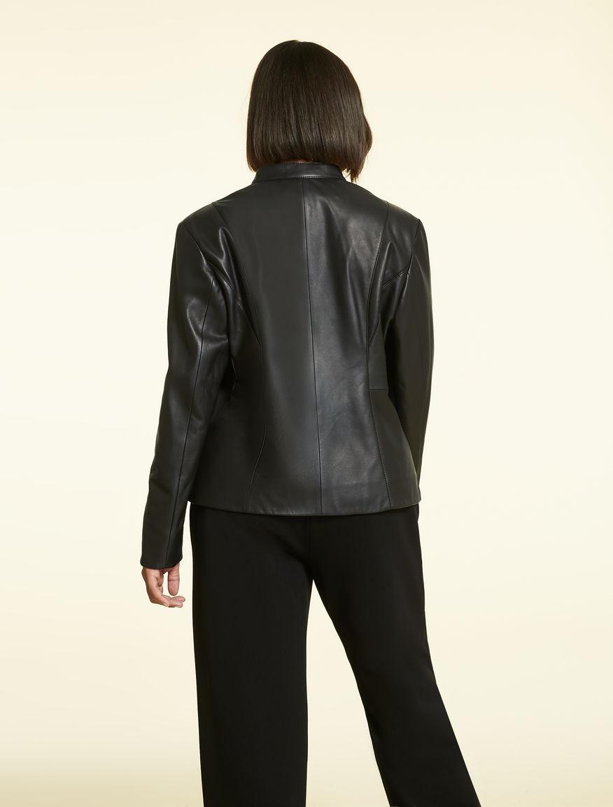 c1aabddaa6e Nappa leather and knit jacket, black -