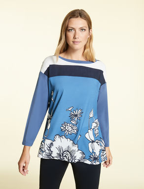 Jersey and crêpe de Chine sweater