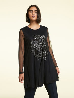 Tulle and jersey tunic