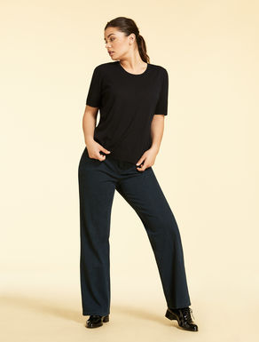 Denim-effect jersey trousers
