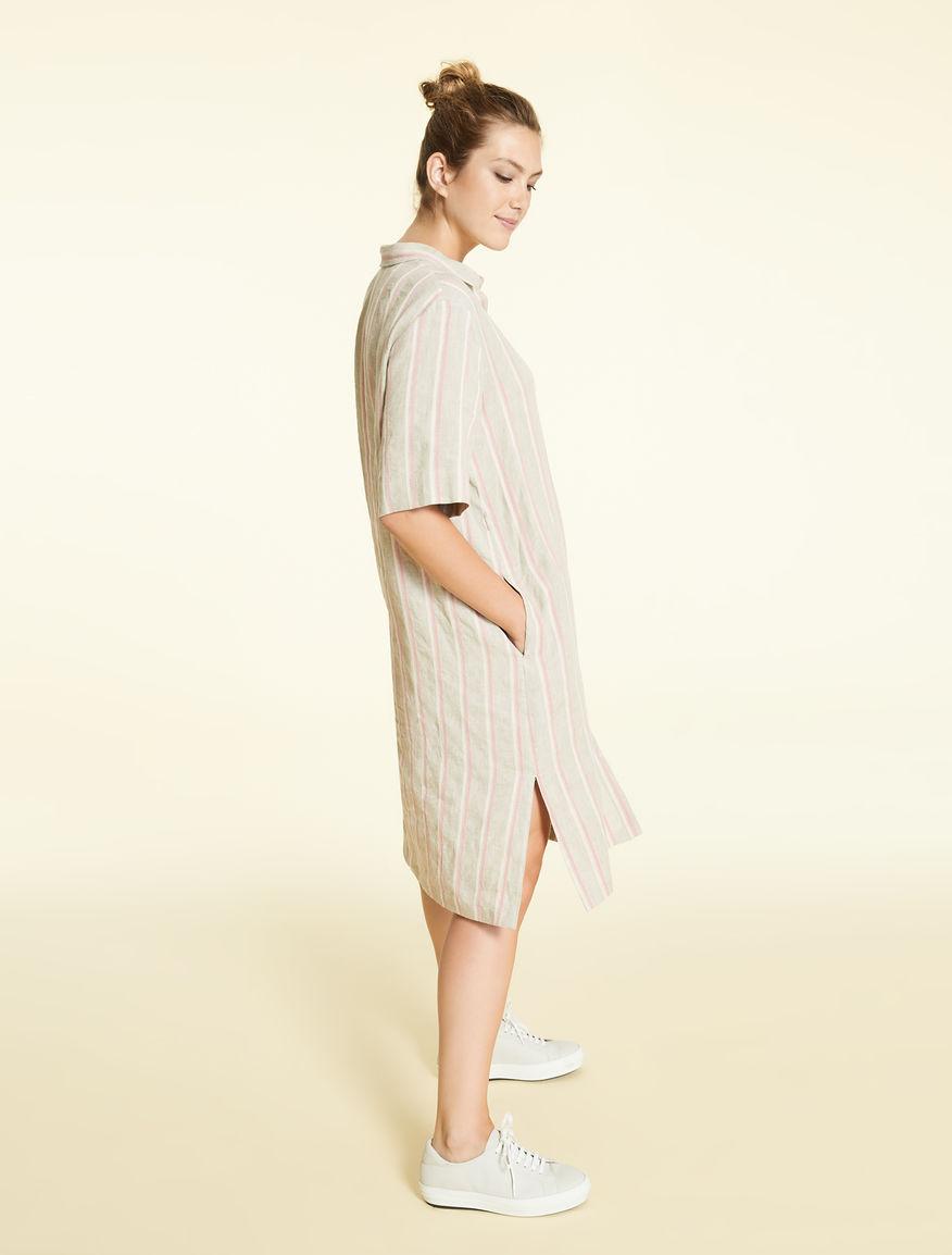 7faaa0462 Vestido camisero de lino y algodón