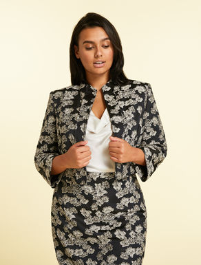 Bolero jacket in stretch jacquard