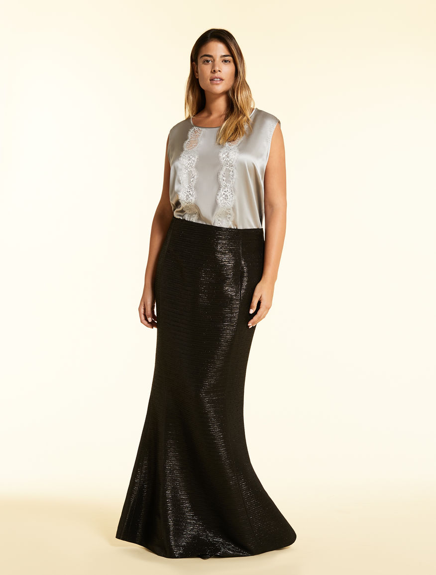 Textured lurex skirt