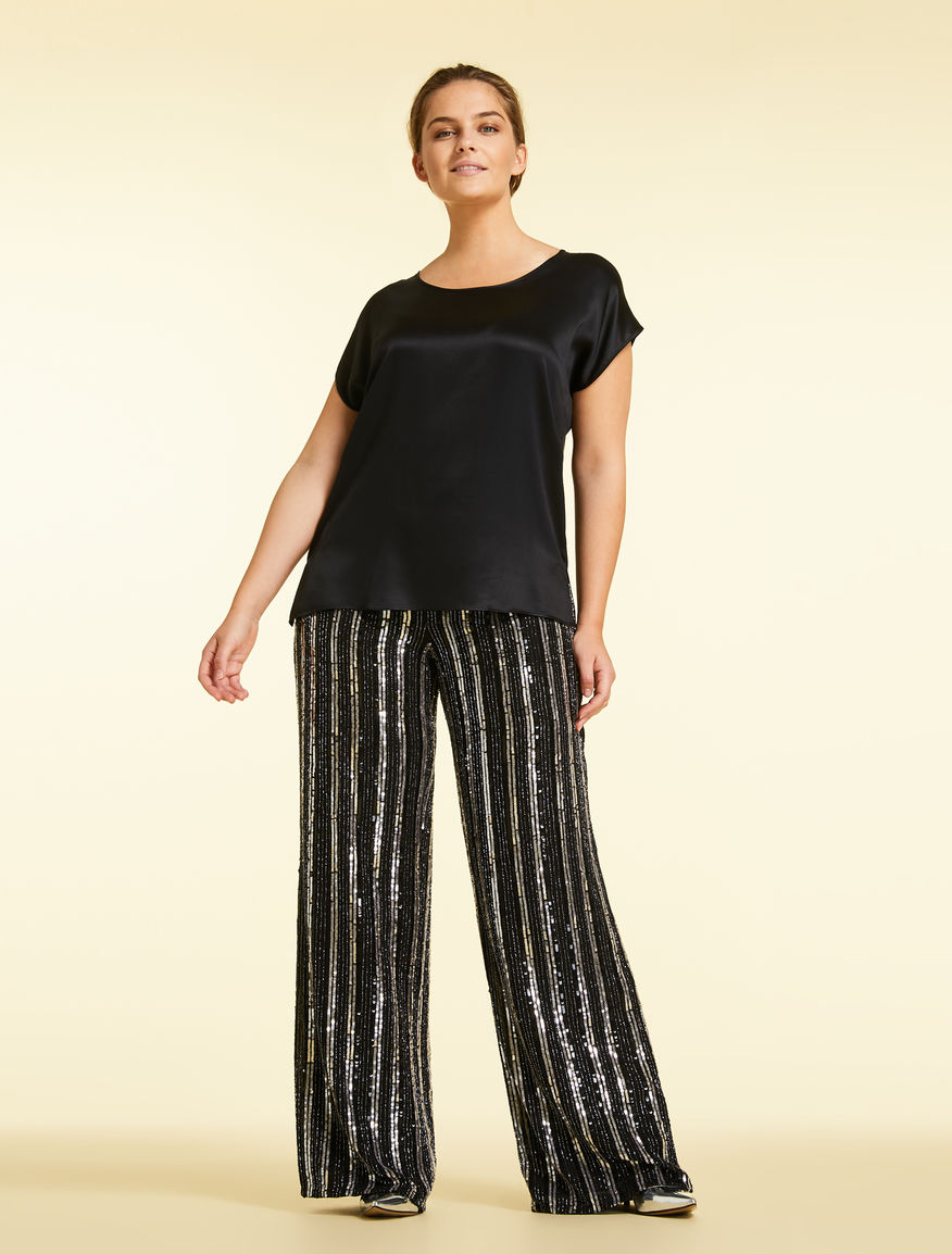 Georgette trousers with sequins