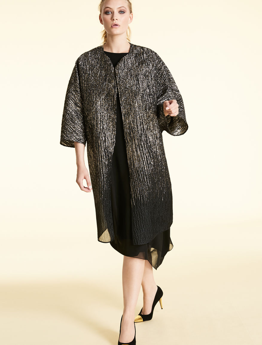 Silk and lurex jacquard duster coat