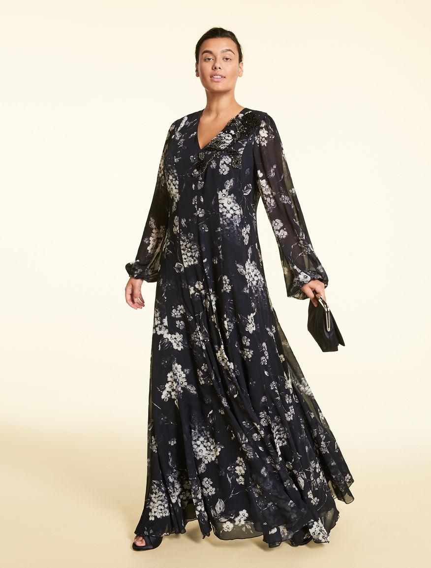 Langes Kleid aus Georgette