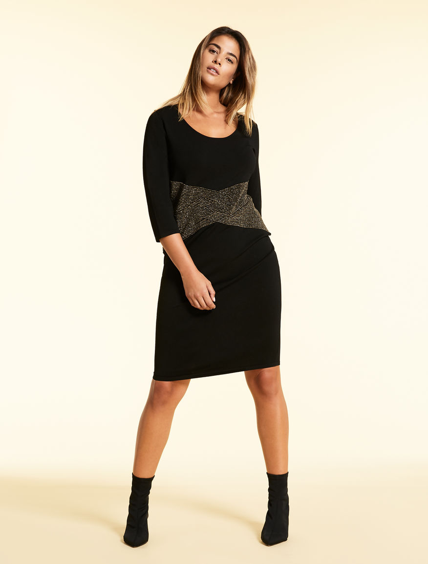 Knit dress with lurex plait