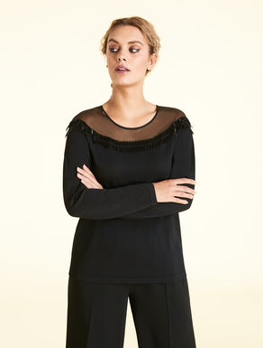 Matte-finish viscose jumper with beading