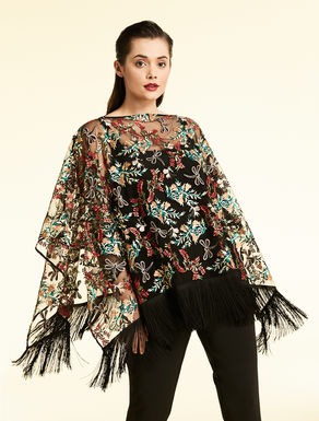 Poncho in embroidered tulle