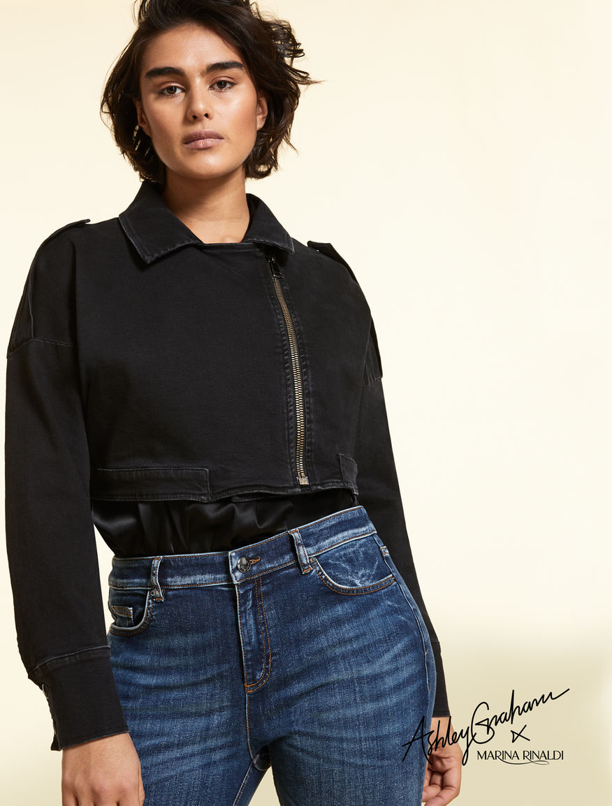 Giacca cropped in denim