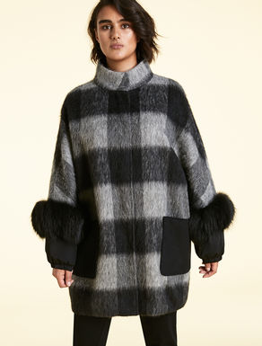 Ripped-effect wool coat