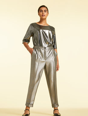 Trousers in flowing metallic fabric