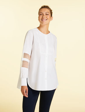 Cotton poplin and organza shirt