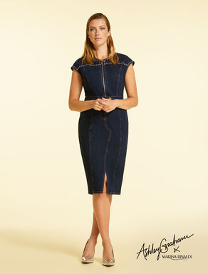 Bi-stretch denim dress