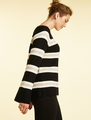 Sweater in cotton and wool yarn
