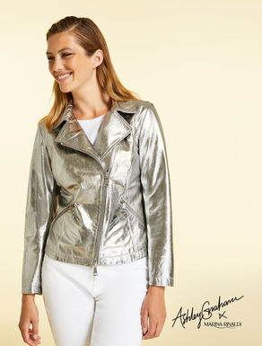 Jacket in metallic leather