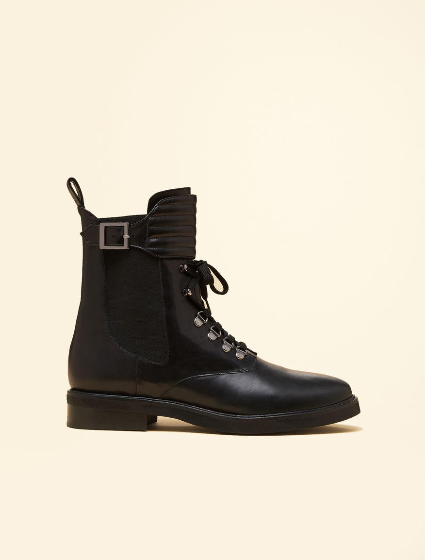 Nappa leather combat boots