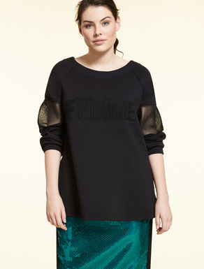 Technical fabric sweatshirt with mesh