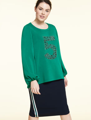 Technical fabric sweatshirt with gems