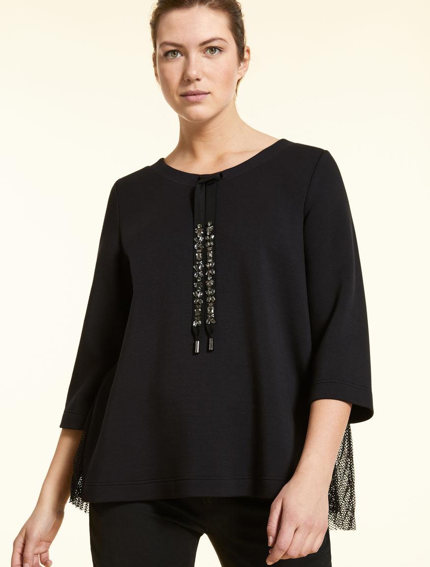 Technical fabric sweatshirt with mesh