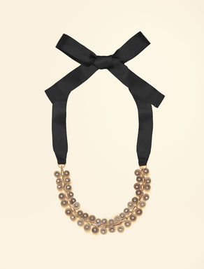 Rhinestone and metal necklace