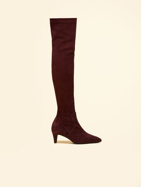 Suede thigh-high boots