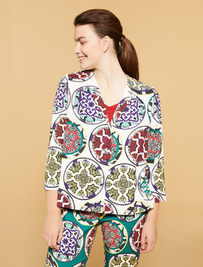 Printed basket-weave jacket