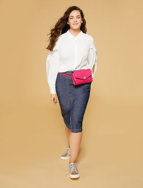 Stretch denim gabardine skirt