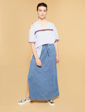 Light-weight demin long skirt