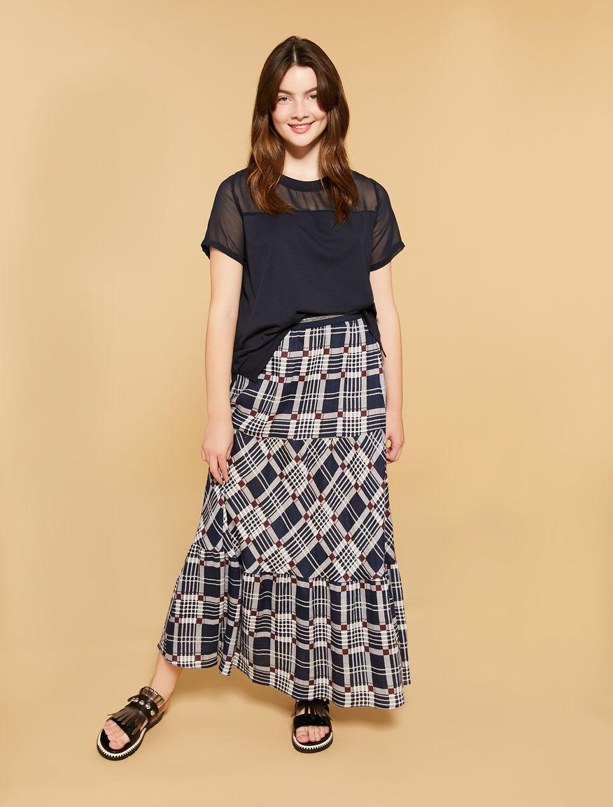Printed linen long skirt