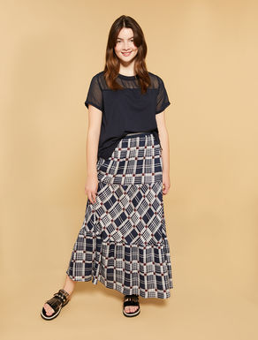 Printed linen long skirt
