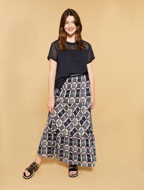 Falda larga de lino estampado